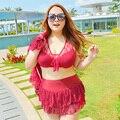 Modern Sexy Lace Ruffle Cintura Alta Plus Size Wommen Natação saia Biquíni Set Swimwear Trajes de Banho Das Senhoras da Qualidade Superior 3 peça