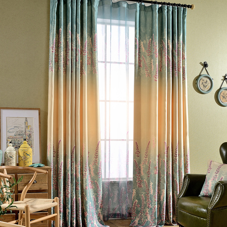 America pastoral style cotton and linen lavender print blockout cloth curtain living room for Lavender curtains for living room