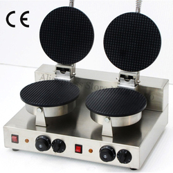 Electric Double Heads Ice Cream Cone Machine Crispy Pancake Maker 220V 110V 2000W Non-stick Cooking Surface + 2 Cone Molds
