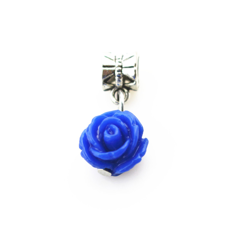 20pcs/lot blue rose flower charms hanging charm big hole pendant bead charm fit pando bracelet diy jewelry dangle charms