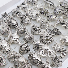 Wholesale 20pcs/Lots Mix Snake Owl Dragon Wolf Elephant Tiger Etc Animal Style Antique Vintage Jewelry Rings for Men Women