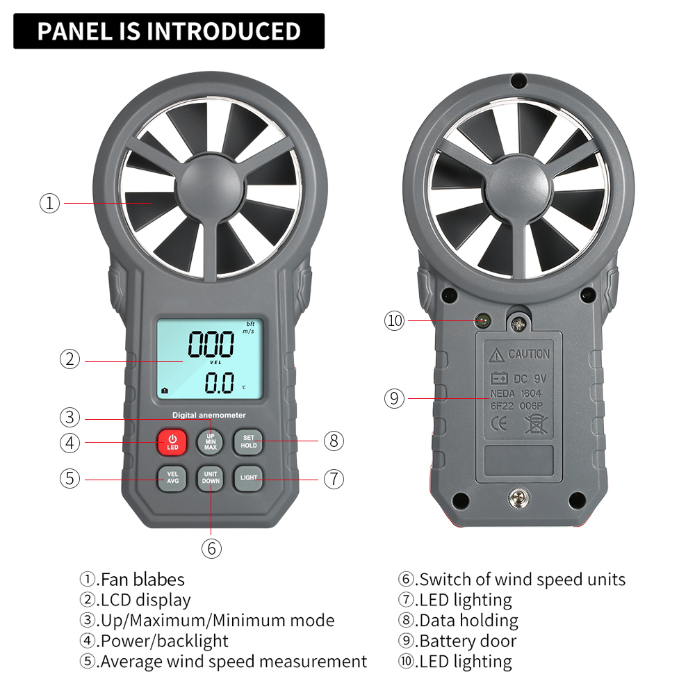 Digital Anemometer as Wind Speed Meter with Flashlight for Air Velocity and Air Temperature Test 2