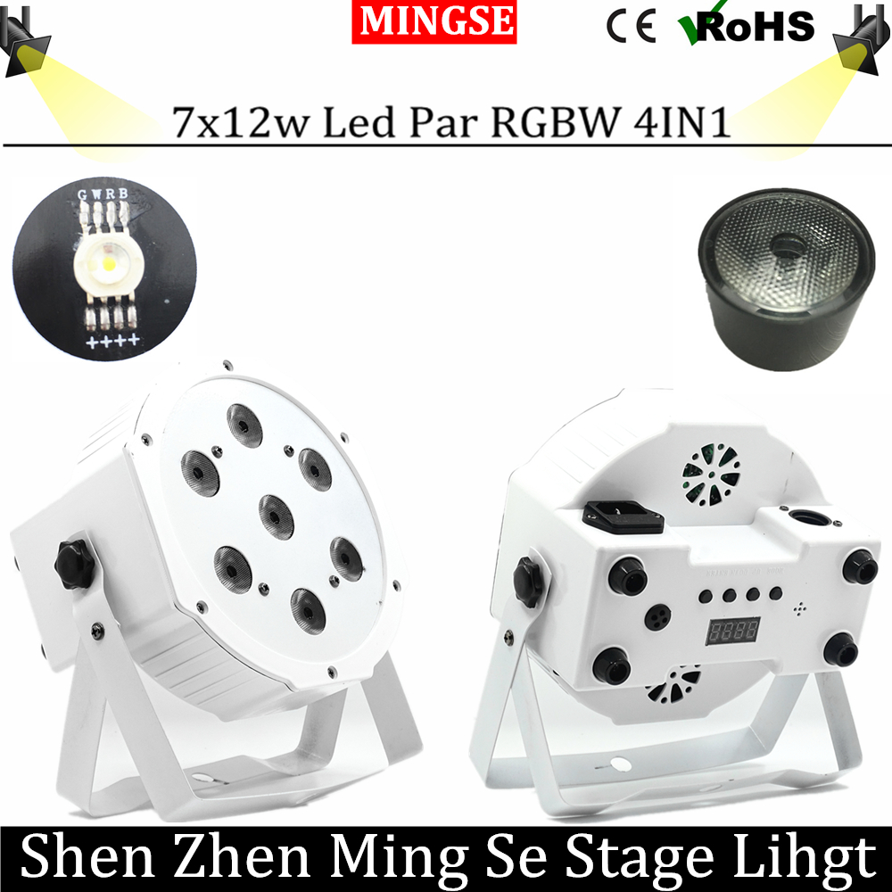 Fast Shipping  7*12w Ultra Bright Slim Flat White Led Par Light 7x12W Smooth RGBW Color Mixing DMX 4/8 Channels Stage Wash