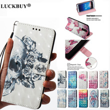 LUCKBUY 3D Printed Flip Wallet Case Coque for Huawei Mate 10 Pro Mini PU Leather Back Fundas For P9Lite Y6