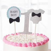 1 Set Cute First Birthday Cupcake Toppers 1st Girl Boy Baby Kids For Party Cake Decorations Glitter Topper New Arrival