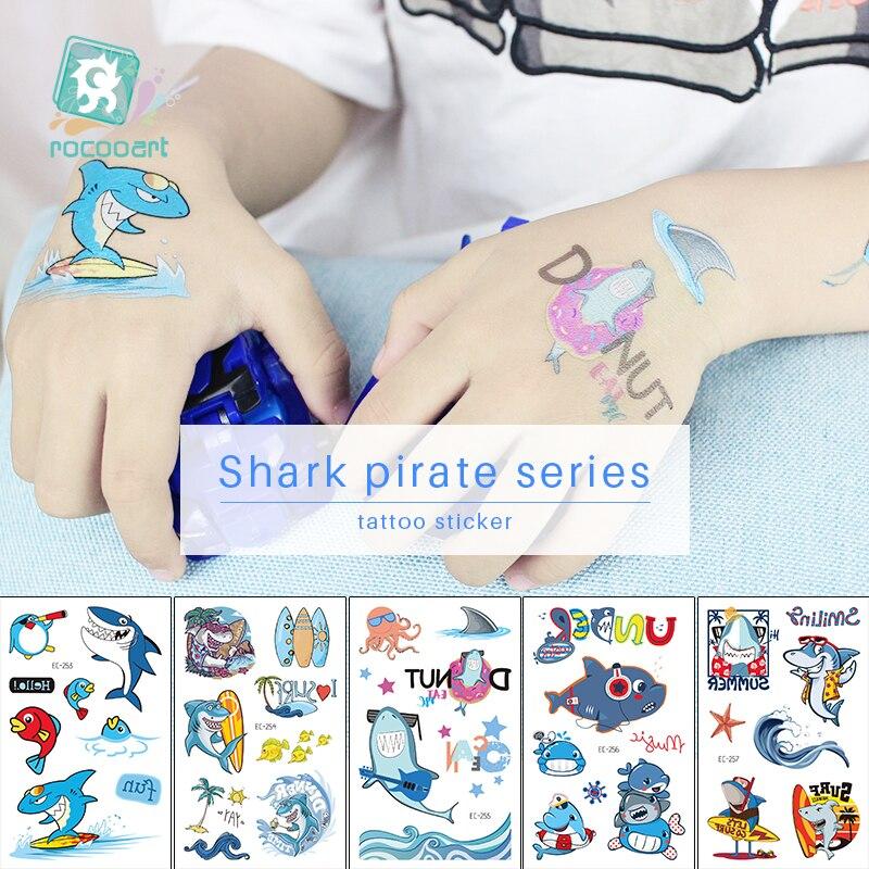 Rocooart Pirate Shark Tattoo For Kid Cartoon Fake Taty Children Tatuajes Temporales Body Art Waterproof Temporary Tattoo Sticker