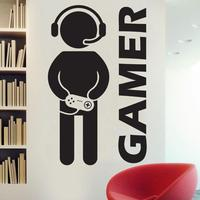 1Pc Video Game Wall Sticker Art Gaming Gamer Joystick Wall Decal DIY Art Design Gaming Room