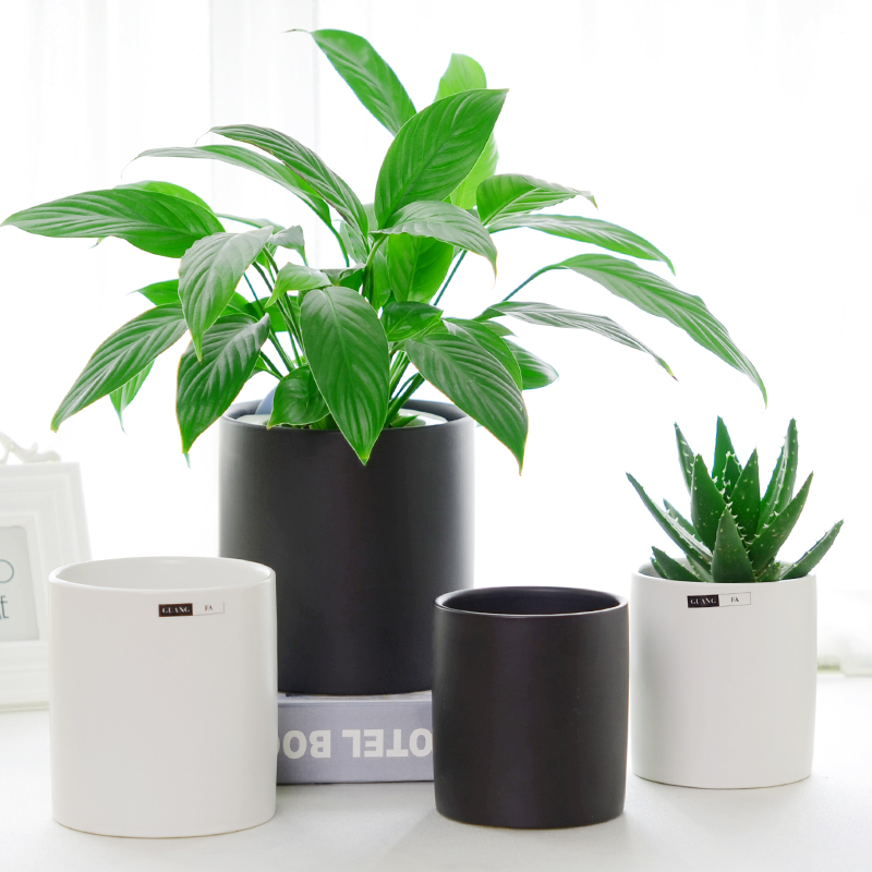Simple Nordic Matte Flowerpot Cylindrical Ceramics Black And White Living Room Green Lounge
