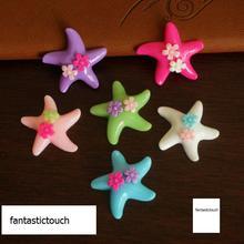 50 шт./партия, 29*32 мм, 6 цветов, Новые Креативные кнопки Starfish, красочная смола, пуговицы для украшения