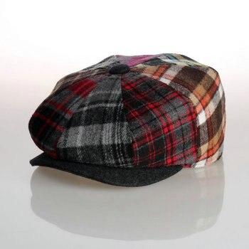 2018 moda sólido visera sombrero militar Otoño e Invierno lana Vintage  casquillo de la boina del remiendo para las mujeres Inglaterra casquillo  plano ... 8e5df855df7
