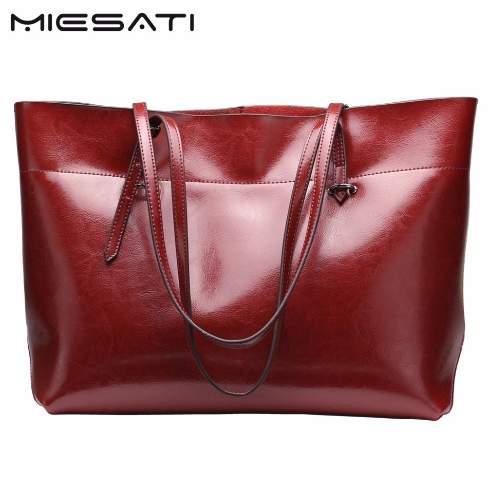 MIESATI Casual Women Tote Bags Large Capacity Genuine Leather Handbags New Famous Designer Brand Ladies shoulder Shopping Bags