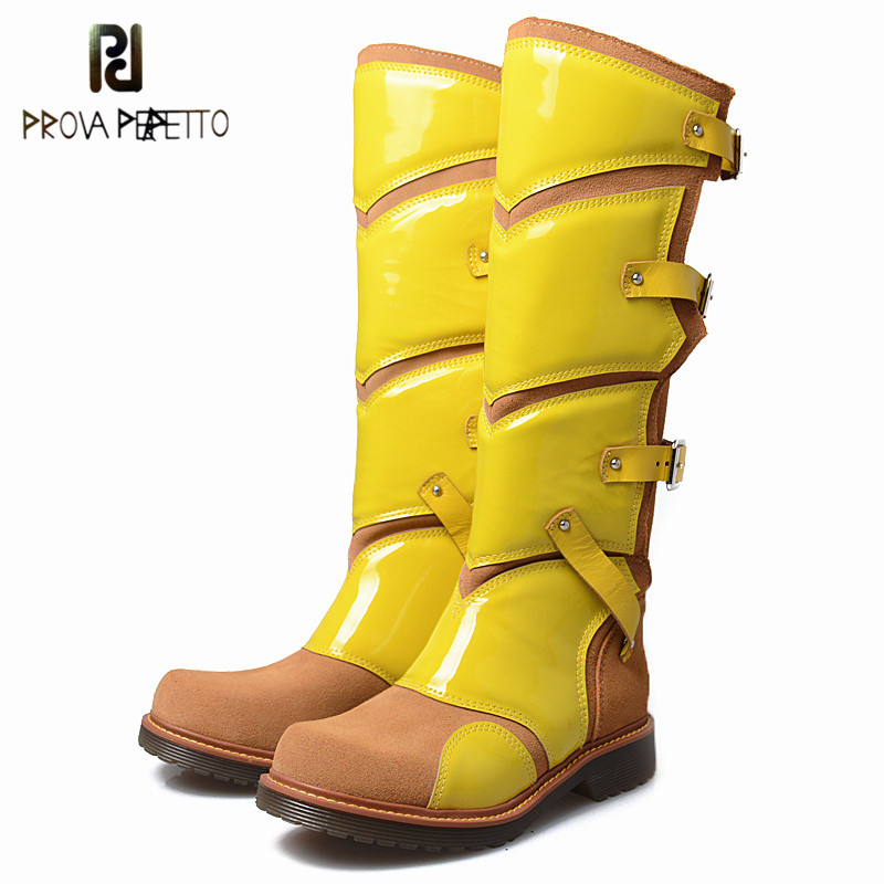 Prova Perfetto 2018 Hot Selling Autumn Winter Look Thin Thick Bottom Long Boots Solid Color with Plush Knee-high Woman Boots prova perfetto autumn new arrived 2018 women zip knee boots look thin look tall hollow out temperament thick heels boots 34 40