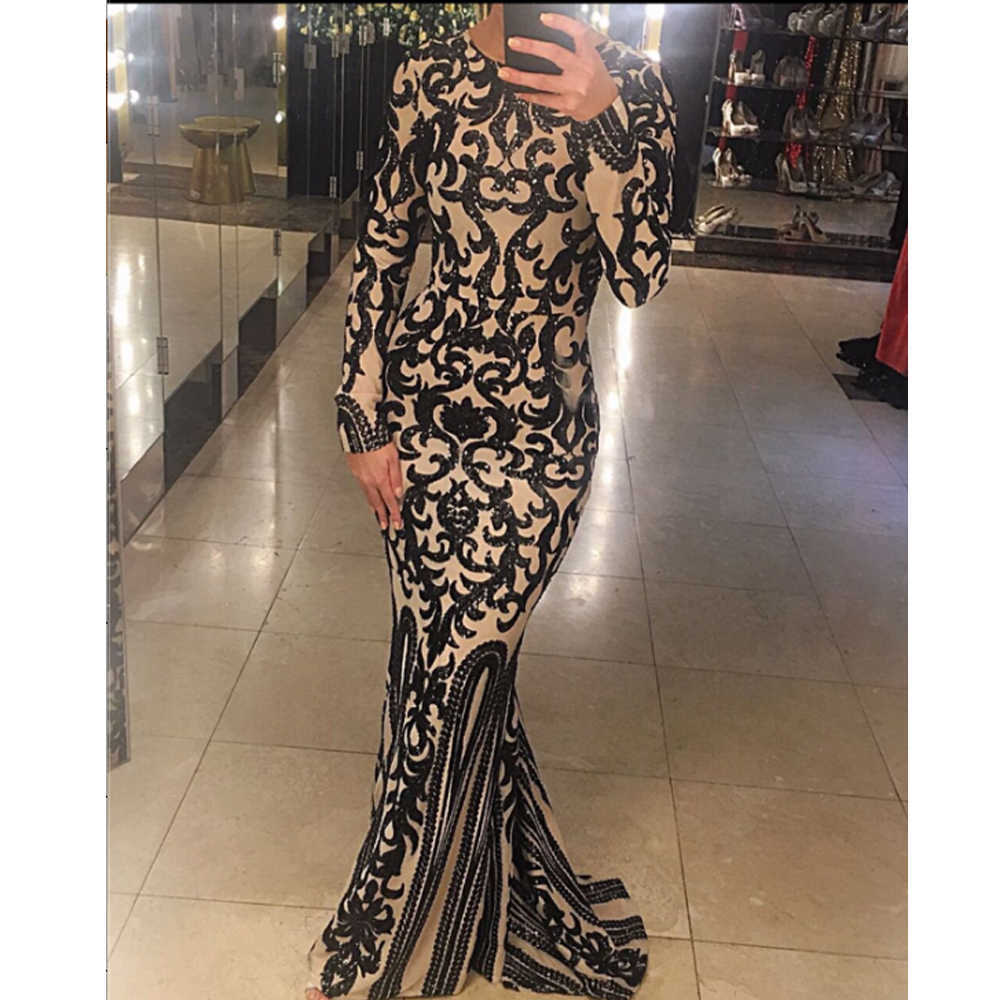 38ab9096107 Missord 2019 Sexy O Neck Long Sleeve Retro Sequin Maxi Gorgeous Reflective  Dress FT8578
