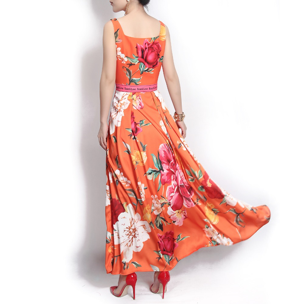 Vacances 2018 Mode Courroie Designer Haute Cristal Plage Impression Longue Orange Qualité Maxi De Pivoine Robe Gaine Femmes D'été Rose qawfx4BCB