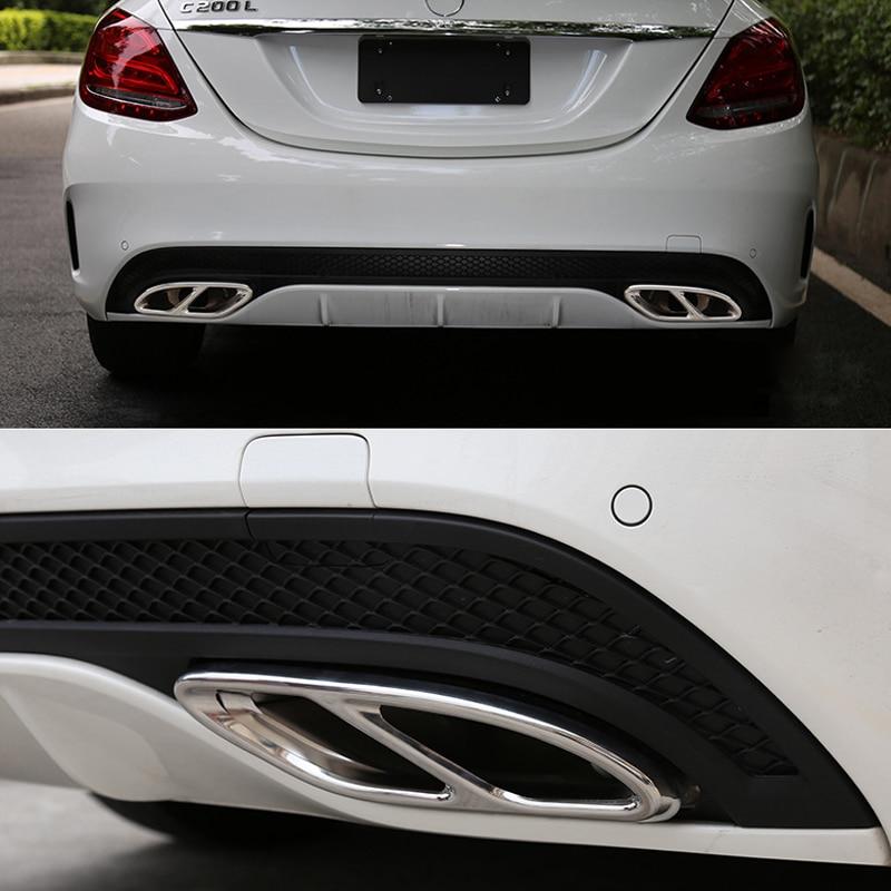 2 шт. автомобильная часть для Mercedes Benz GLC C e-класс C207 купе 2014-2017 W212 W213 W205 X253 C180 C200 глянцевая черная сталь выхлопные планки