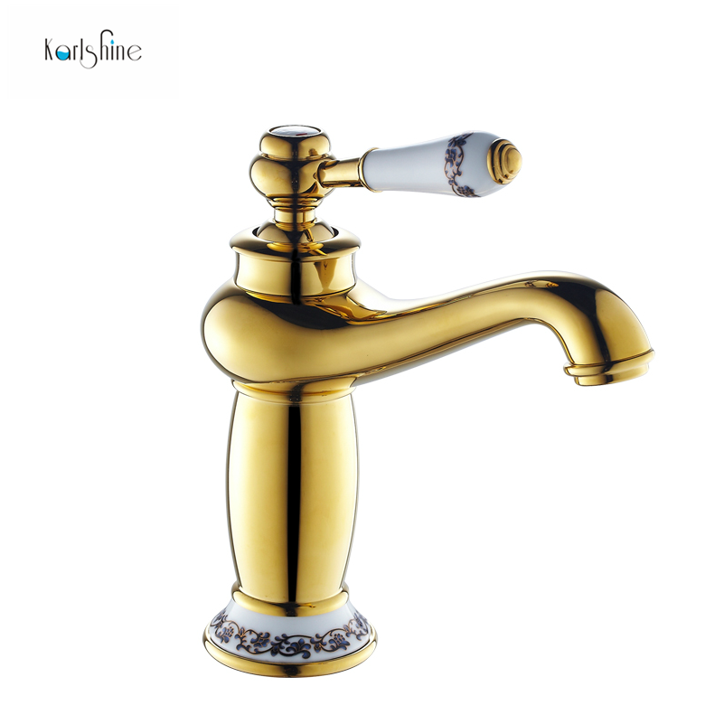 Free shipping gold bathroom faucet antique copper faucet brass ...