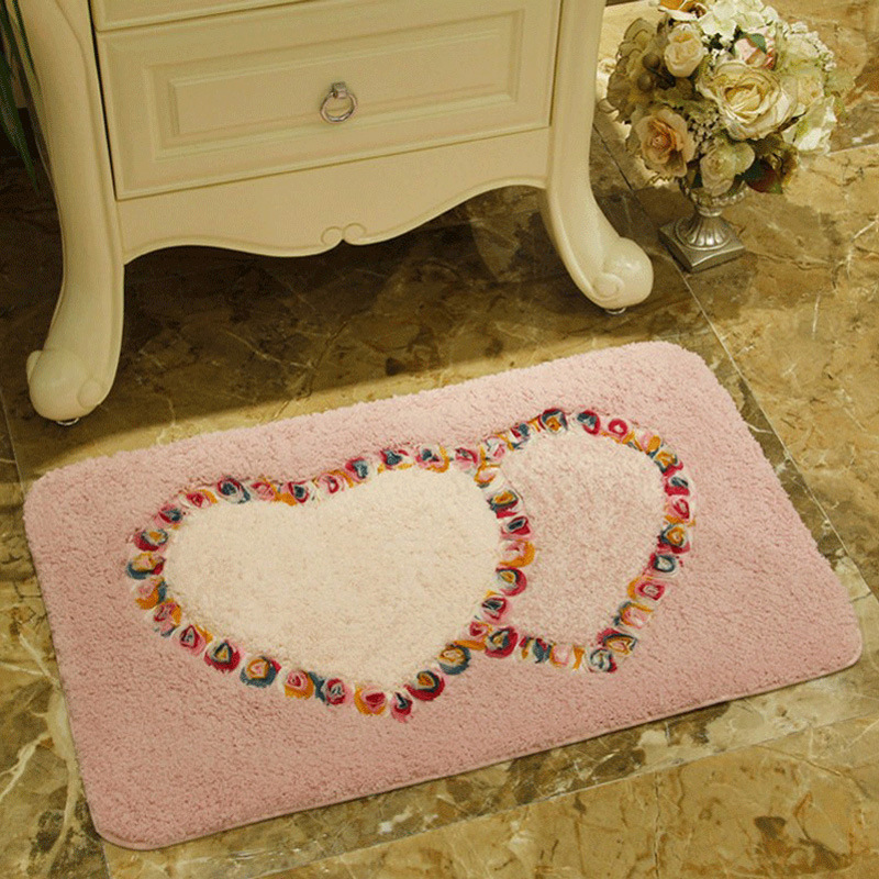 Anti-Slip Heart Pattern Foor Mat Carpet Rug Door Mat Carpets for Living Room Area Rug Carpet Bedroom Floor Rug Mat Tapete