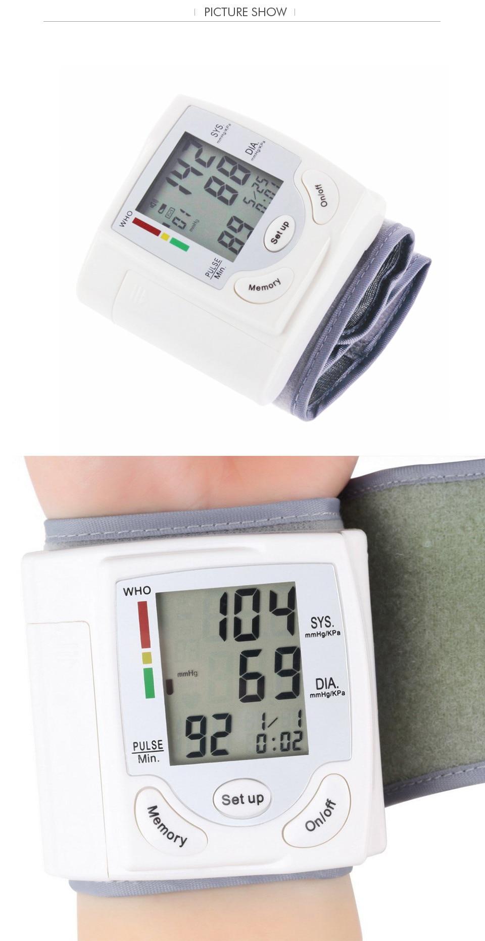 Gustala Automatic Digital Sphygmomanometer Wrist Cuff Arm Blood Pressure Monitor Meter Gauge Measure Portable Bracelet Device 18