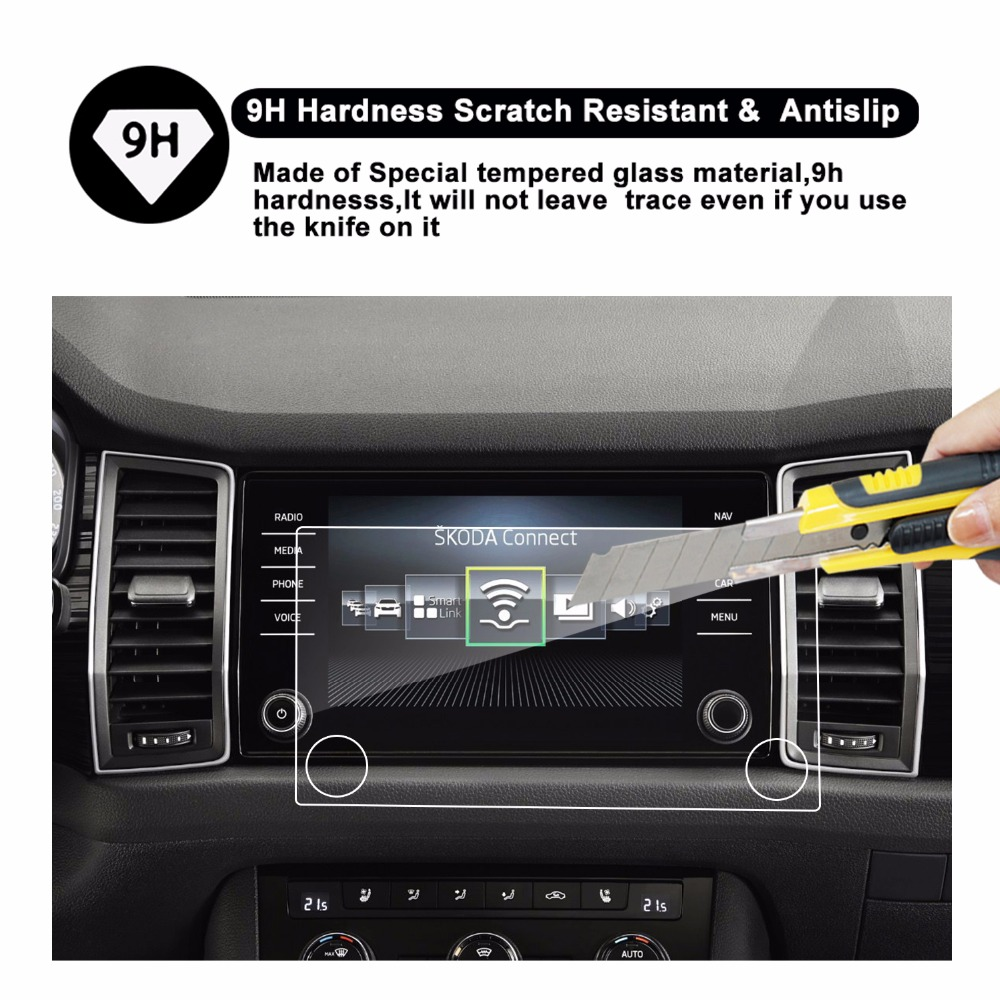 US $18 88 |RUIYA 9H tempered glass screen protector for Skoda kodiaq Bolero  Amundsen 8inch car gps navigation touch screen,9H tempered film-in Screen