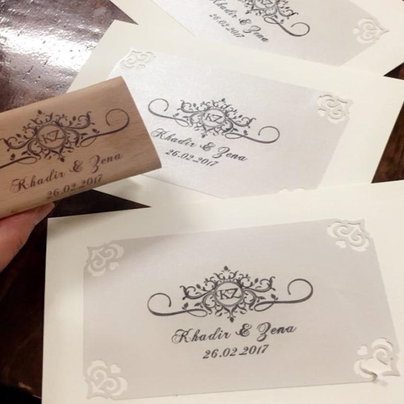 Wedding Stamp Floral Frames Custom Initial Rubber Stamp