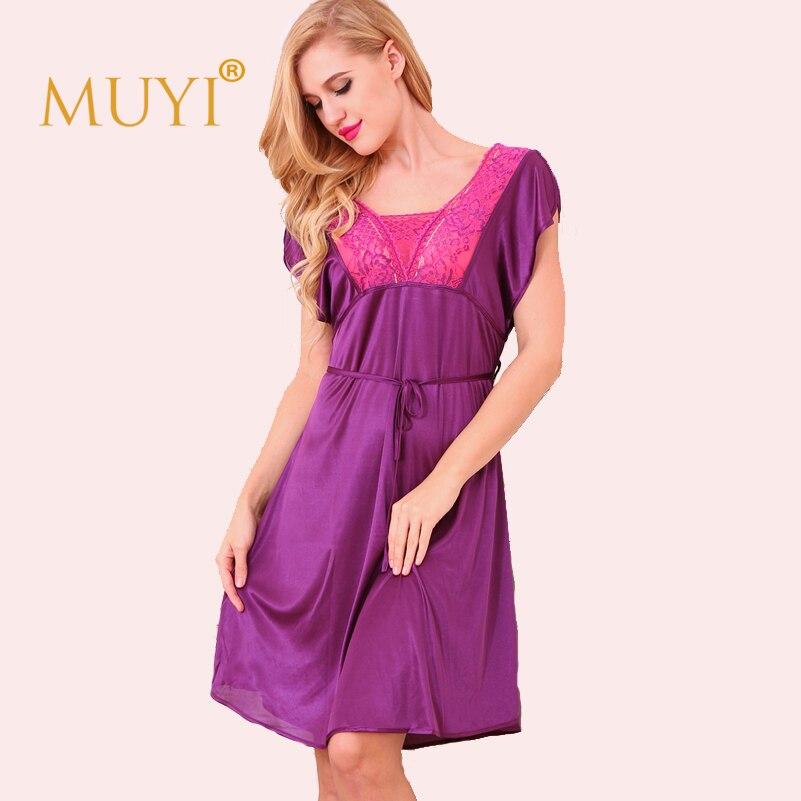 7fba41cf81 Women Night Dress Sleepwear Lace Nightgowns Nightshirts Sexy Babydoll  Nightwear Short Sleeve Nuisette Femme Sexy Dressing Gown