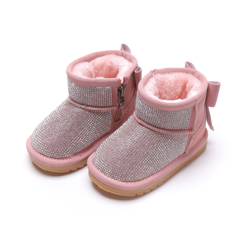 Crystal Girls Boots 2018 New Bling Warm Children's Winter Shoes Fashion Ankle Heel Bow Knot Kids Snow Boot 1 4 6  years : 91lifestyle