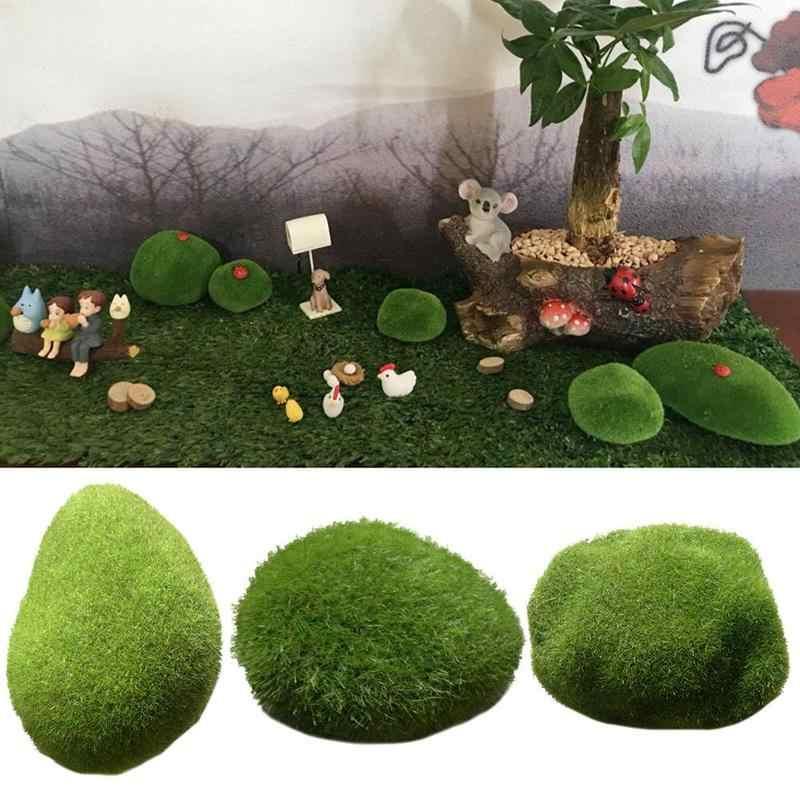 1 шт. Зеленый Искусственный мох камушки трава завод Декор Пейзаж домашний сад бонсай камни покрытые мхом