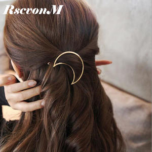 RscvonM Hot Sales New Style Women's Simple Elegant Metal Geometric Moon Hairpin Hair Clip Hair Accessories Jewelry Bijoux