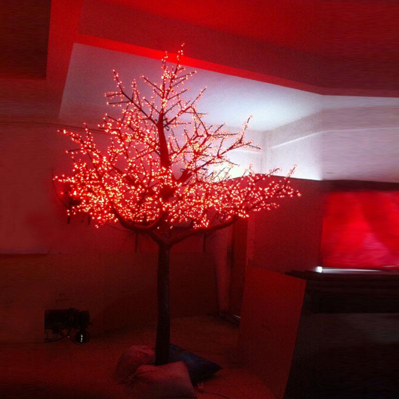 metros led que cambia de color al aire libre iluminado cerezos en flor