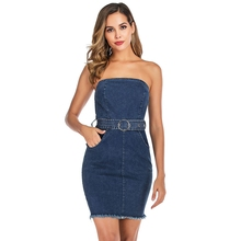 цена на Strapless Denim Dress Bodycon Dress 2019 New Summer Sexy Backless Fringed Party Jeans Dress Belt Women Club Wear Vestidos Jeans