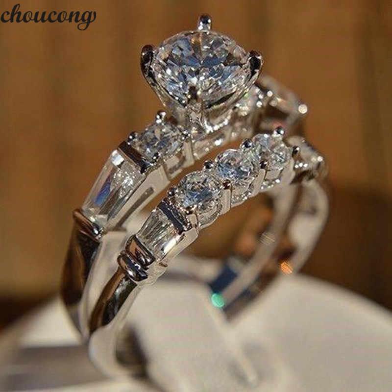 Choucong โรแมนติกแหวนทองคำขาว AAAAA Zircon CZ งานแต่งงานแหวนสำหรับเจ้าสาวชุดเครื่องประดับ