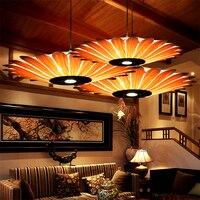 Юго Восточной Азии деревянный подвесной светильник в виде подсолнуха Hanglamp шпон подвесной светильник ресторан светильники