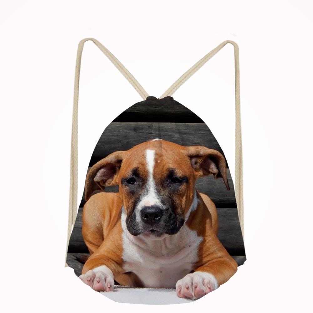 Noisydesigns American Staffordshire Terrier Dog Lover Casual Men Shoulder Bag Small Travel Mochila Drawstring Bag Boys Girls