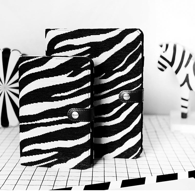 Creative Zebra Stripes cloth & PU Cover Planner Notebook Diary Book Exercise Composition Binding Note Notepad Gift Stationery 406