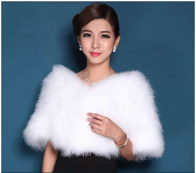 New Women's Real Genuine Ostrich Fur Wedding Bride Bridesmaid Cape Wraps Shrug Poncho Stole