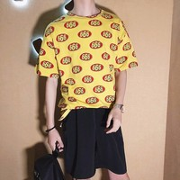 2018 Spring And Summer Newest Men S Korean Fashion Numbers Print Round Neck Short Sleeve Loose
