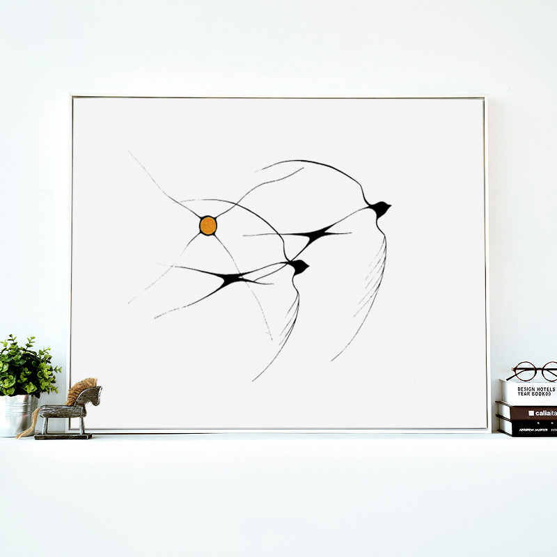 Wall Art 3 Line Of Birds : Flying bird lines abstract modern simple a canvas