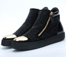 Moda preto de aço do dedo do pé sapatos flats mens ankle boots de couro genuíno sapatos de caminhada dos homens ao ar livre sapatos casuais com reivets