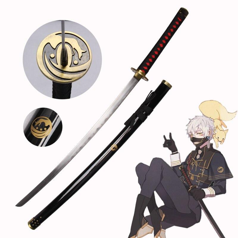 Free Shipping For Touken Ranbu Online Game Nakigitsune Sword With Black Scabbard rayskin Carbon Steel Blade Katana Cosplay Prop