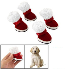 KSOL Hot Sale Dog Pet Booties Red White Christmas Xmas Warm Shoes Boots Size 5