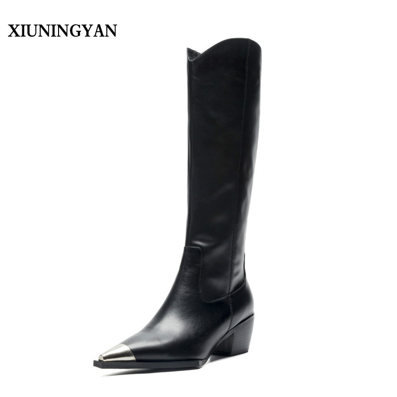 XIUNINGYAN 2018 Newest Fashion Over The Knee Boots Woman Pointed Toe Black Chain Flat Long Boots Women Shoes Fashion Thigh Boots 2018 newest fashion over the knee boots woman round toe silver chain flat long boots women fashion thigh botas low heel shoes