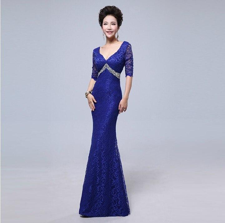 v-образным вырезом платье с поясом длинное вечернее платье халат de soiree Abiti да сывороток vestido de festa longo com H0296 - Цвет: Cobalt