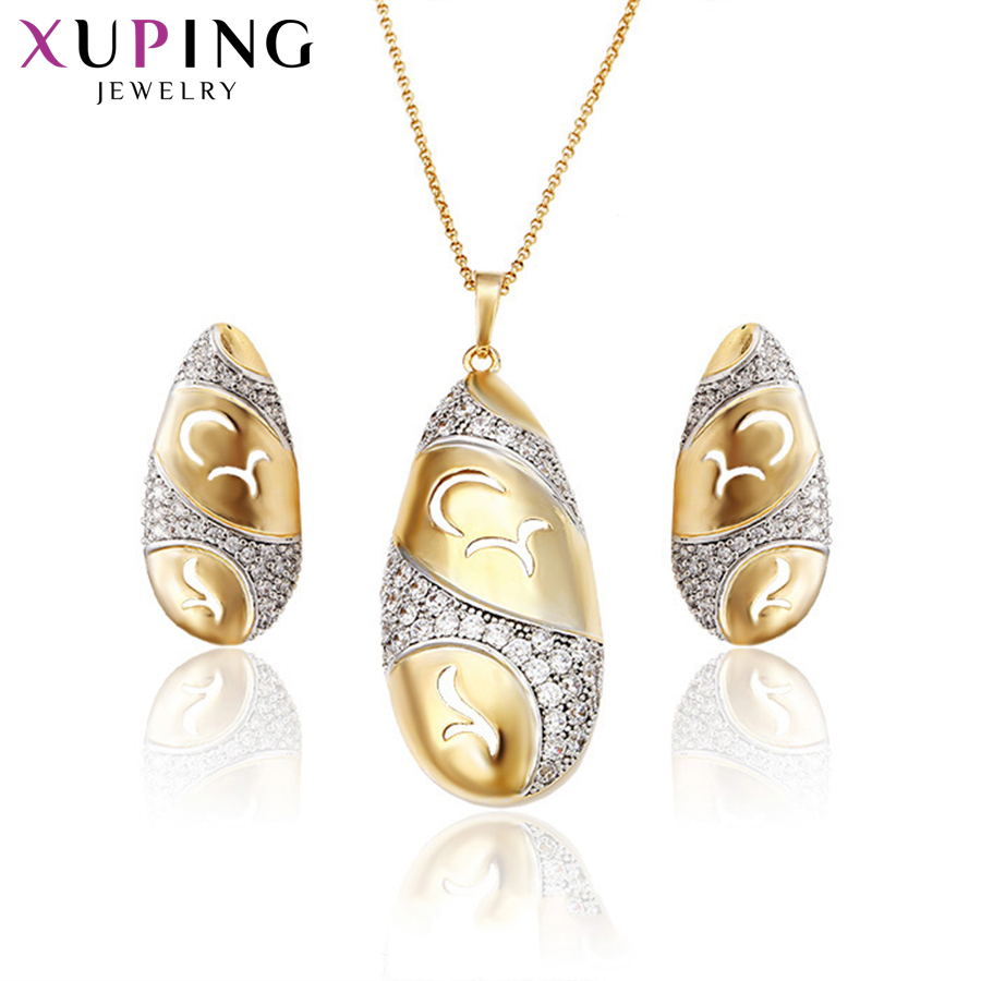 Xuping Fashion Simple Water Droplets Shape Jewelry Sets Environmental Copper For Women Thanksgiving Day Gift S72,6-62722 Jewelry Sets & More