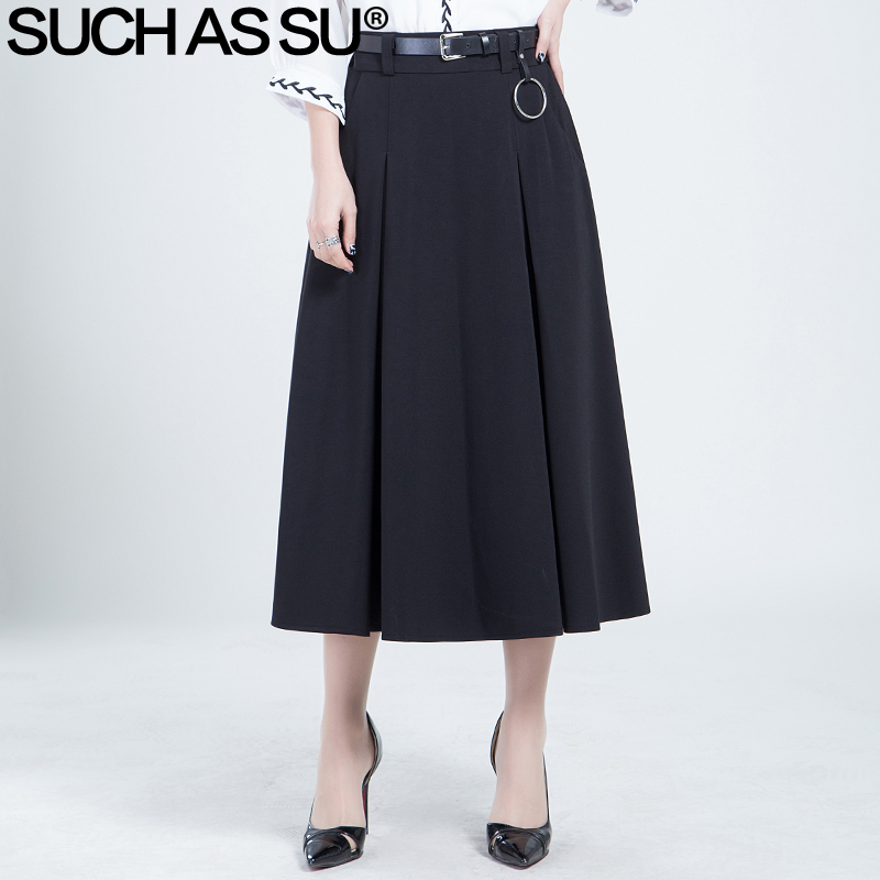 Skirts Womens New 2017 Spring Summer Fashion Knit Black High Waist Elastic Mid Long Pleated Skirt