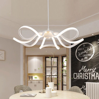 Simple Creative Living Room Lamps White Acrylic Art Flower Shape LED Lighting Nordic Chandelier