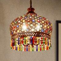 Modern Bohemia Vintage Fashion LED Colorful K9 Crystal Pendant Lamp Bronze Decoration Fixture Lights Luxury Chandeliers Light