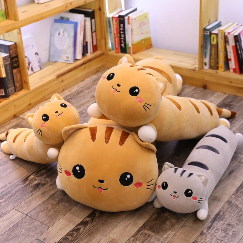 Long Cat Pillow Plush Toy Soft Cushion Stuffed Animal Doll Sleep Sofa Bedroom Decor Kawaii Lovely Gifts For Kids
