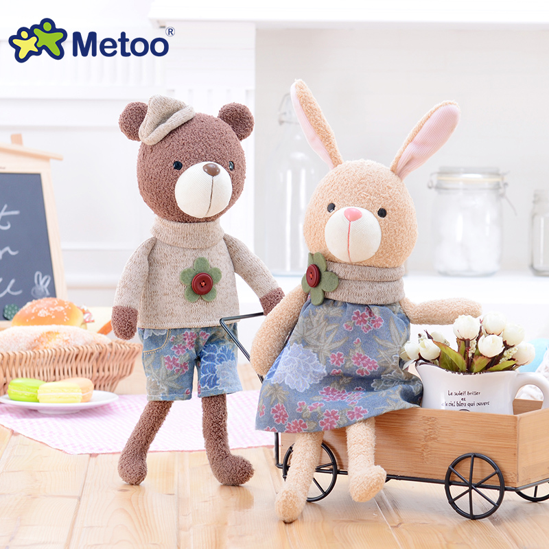 Candice guo plush toy stuffed doll metoo cartoon animal machiatto bear love ted couple teddy baby birthday Christmas gift 1pc 2pcs pair lovely couple teddy bear with cloth dress plush toy stuffed baby doll girls