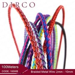 حول صالح 2/3 مللي متر 100 متر مضفر شبكة أسلاك معدنية الحبال المستديرة مجوهرات اكسسوارات العصابات المنسوجة الحبال صياغة طوق صنع جلد