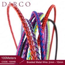 Sobre o ajuste 2/3mm 100 m trançado metal rede de arame cabos redondos acessórios jóias bandas cordas tecidas crafting colar fazendo laço